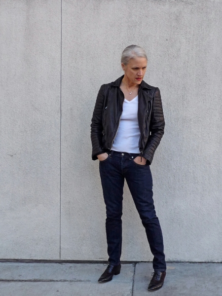 Middle-Aged-Lady-Full-Face-In-A-Biker-Jacket